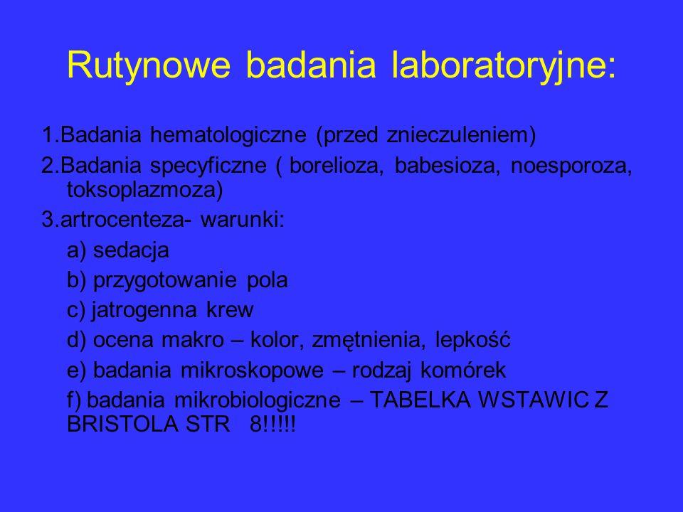 Rutynowe badania laboratoryjne: 1.Badania hematologiczne (przed znieczuleniem) 2.Badania specyficzne ( borelioza, babesioza, noesporoza, toksoplazmoza