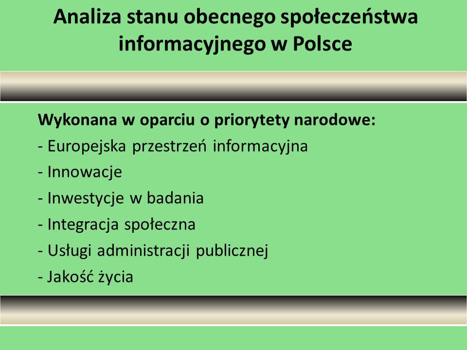 Analiza stanu obecnego społeczeństwa informacyjnego w Polsce Wykonana w oparciu o priorytety narodowe: - Europejska przestrzeń informacyjna - Innowacj