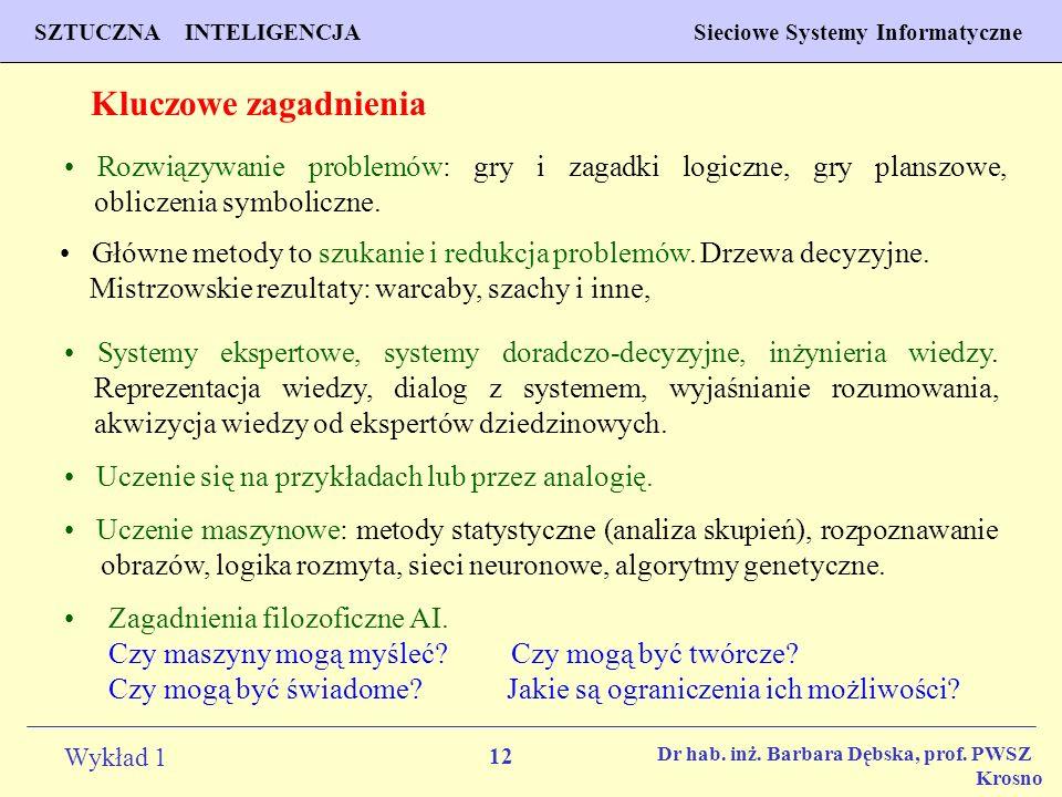 12 Wykład 1 PROGNOZOWANIE WŁAŚCIWOŚCI MATERIAŁÓW Inżynieria Materiałowa SZTUCZNA INTELIGENCJA Sieciowe Systemy Informatyczne Dr hab. inż. Barbara Dębs