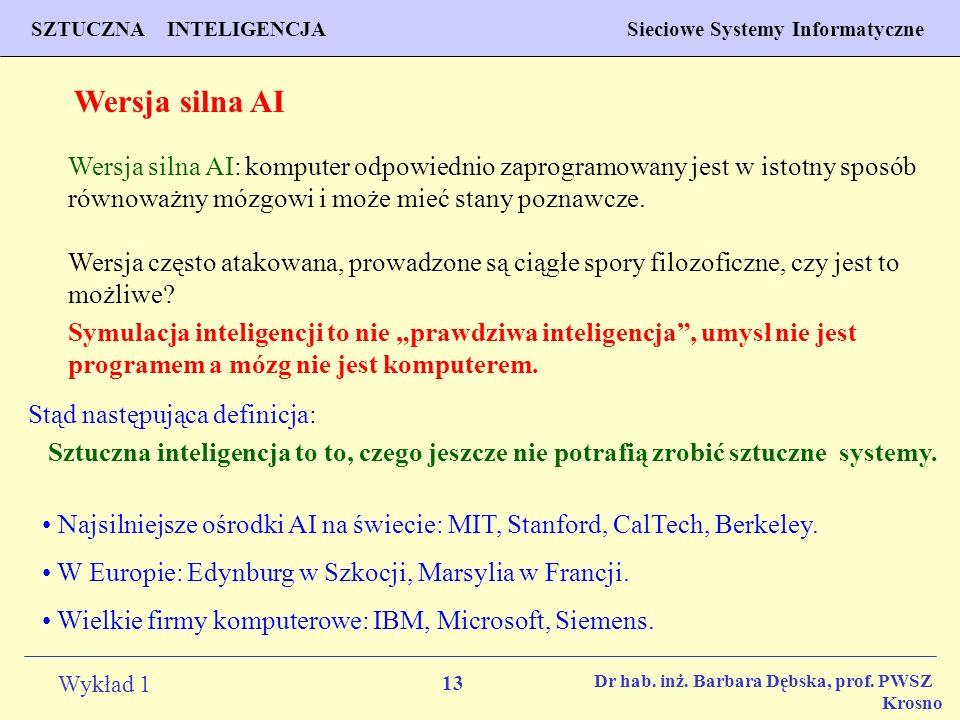 13 Wykład 1 PROGNOZOWANIE WŁAŚCIWOŚCI MATERIAŁÓW Inżynieria Materiałowa SZTUCZNA INTELIGENCJA Sieciowe Systemy Informatyczne Dr hab. inż. Barbara Dębs