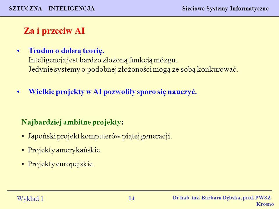 14 Wykład 1 PROGNOZOWANIE WŁAŚCIWOŚCI MATERIAŁÓW Inżynieria Materiałowa SZTUCZNA INTELIGENCJA Sieciowe Systemy Informatyczne Dr hab. inż. Barbara Dębs