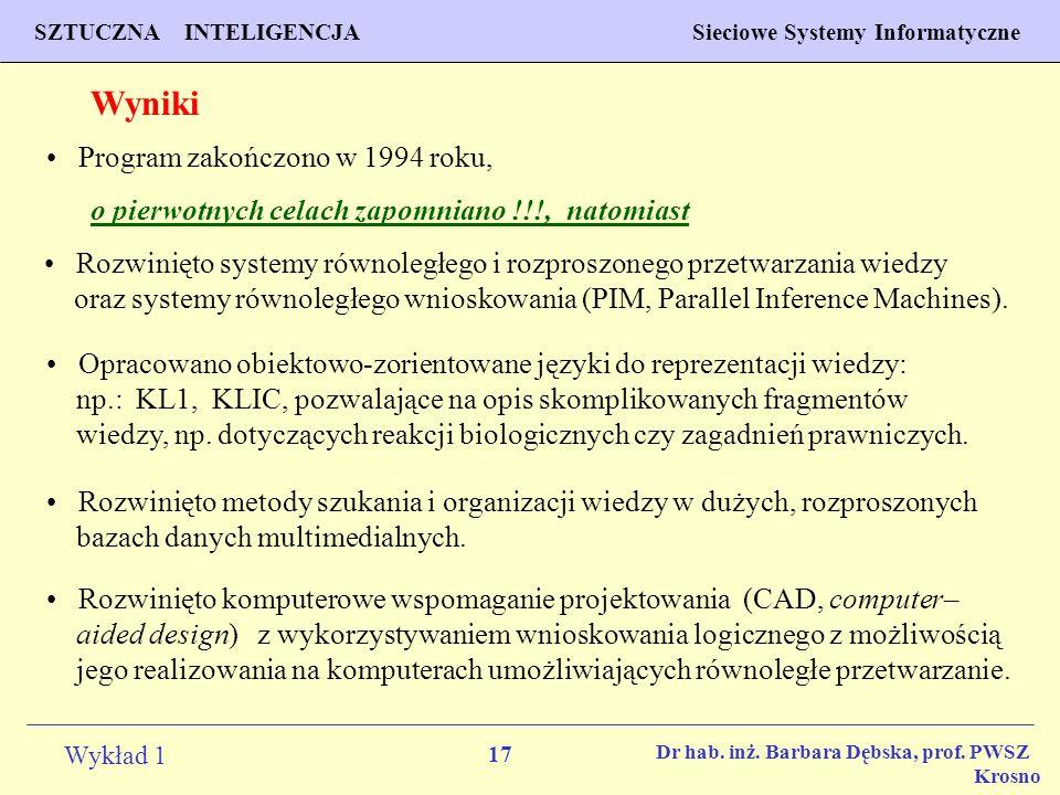17 Wykład 1 PROGNOZOWANIE WŁAŚCIWOŚCI MATERIAŁÓW Inżynieria Materiałowa SZTUCZNA INTELIGENCJA Sieciowe Systemy Informatyczne Dr hab. inż. Barbara Dębs