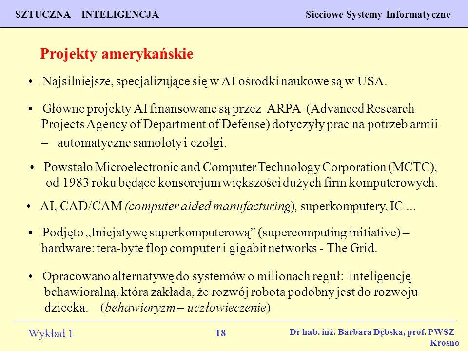 18 Wykład 1 PROGNOZOWANIE WŁAŚCIWOŚCI MATERIAŁÓW Inżynieria Materiałowa SZTUCZNA INTELIGENCJA Sieciowe Systemy Informatyczne Dr hab. inż. Barbara Dębs