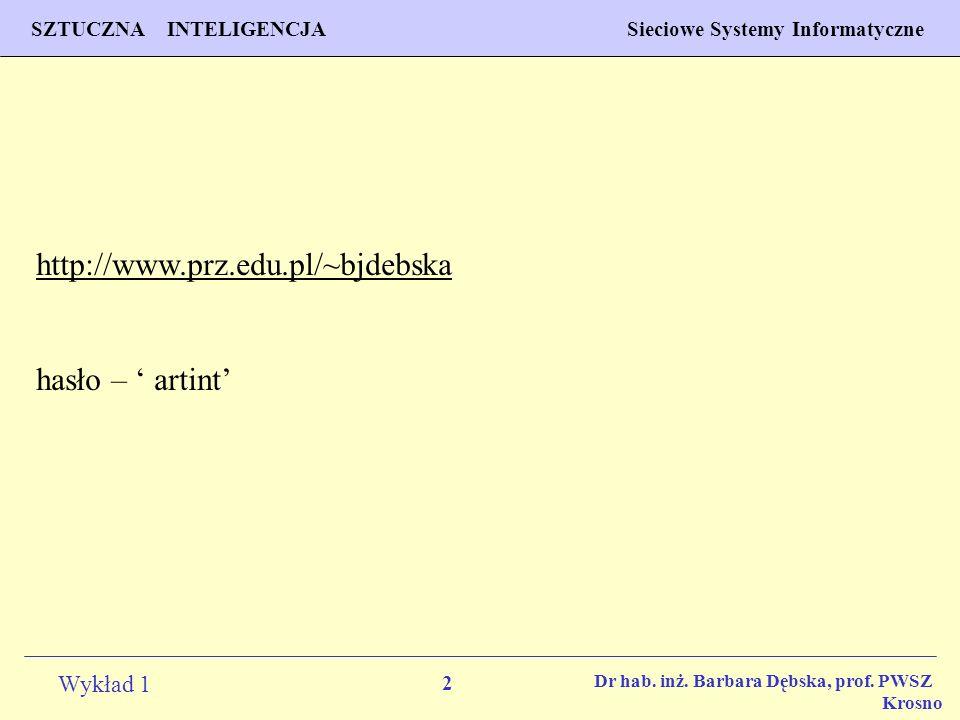 2 Wykład 1 PROGNOZOWANIE WŁAŚCIWOŚCI MATERIAŁÓW Inżynieria Materiałowa SZTUCZNA INTELIGENCJA Sieciowe Systemy Informatyczne Dr hab. inż. Barbara Dębsk