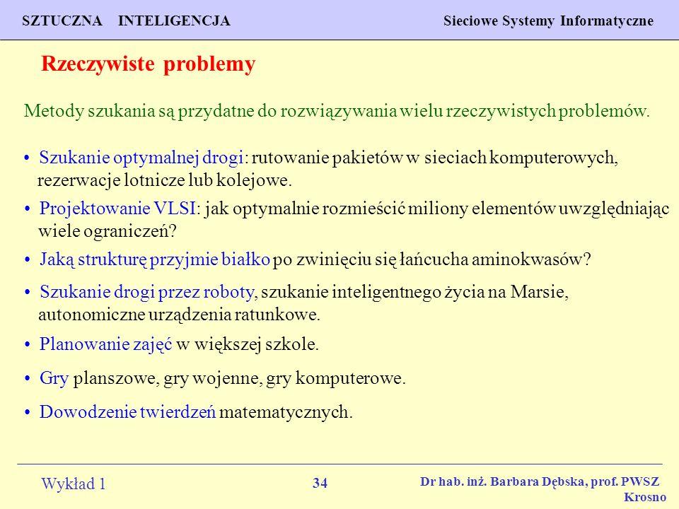 34 Wykład 1 PROGNOZOWANIE WŁAŚCIWOŚCI MATERIAŁÓW Inżynieria Materiałowa SZTUCZNA INTELIGENCJA Sieciowe Systemy Informatyczne Dr hab. inż. Barbara Dębs