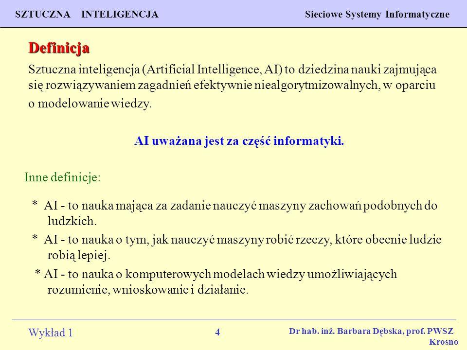 4 Wykład 1 PROGNOZOWANIE WŁAŚCIWOŚCI MATERIAŁÓW Inżynieria Materiałowa SZTUCZNA INTELIGENCJA Sieciowe Systemy Informatyczne Dr hab. inż. Barbara Dębsk