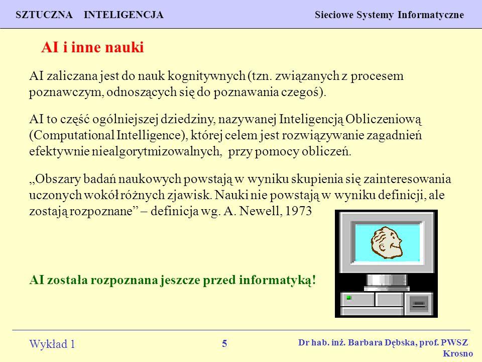 5 Wykład 1 PROGNOZOWANIE WŁAŚCIWOŚCI MATERIAŁÓW Inżynieria Materiałowa SZTUCZNA INTELIGENCJA Sieciowe Systemy Informatyczne Dr hab. inż. Barbara Dębsk