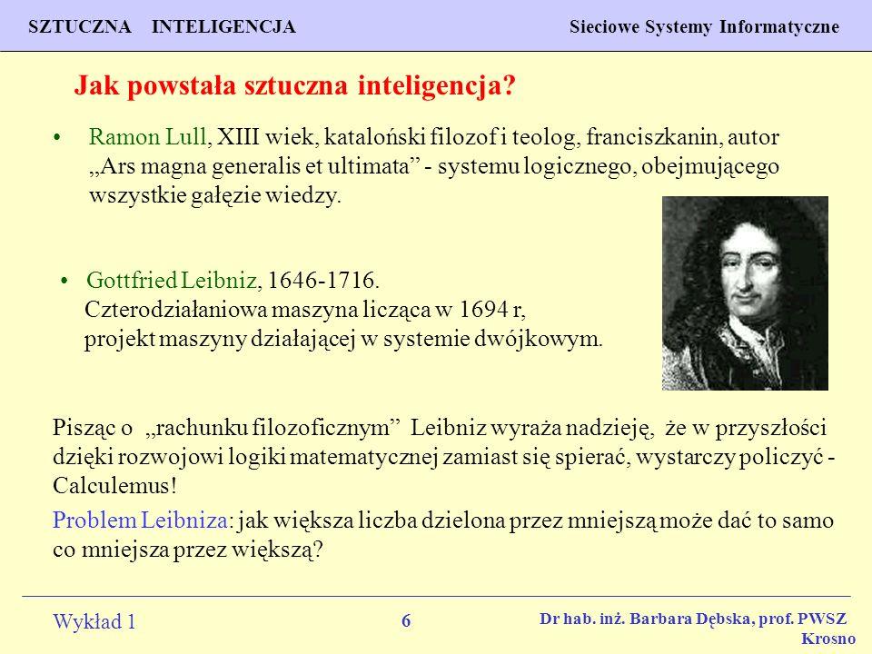 6 Wykład 1 PROGNOZOWANIE WŁAŚCIWOŚCI MATERIAŁÓW Inżynieria Materiałowa SZTUCZNA INTELIGENCJA Sieciowe Systemy Informatyczne Dr hab. inż. Barbara Dębsk