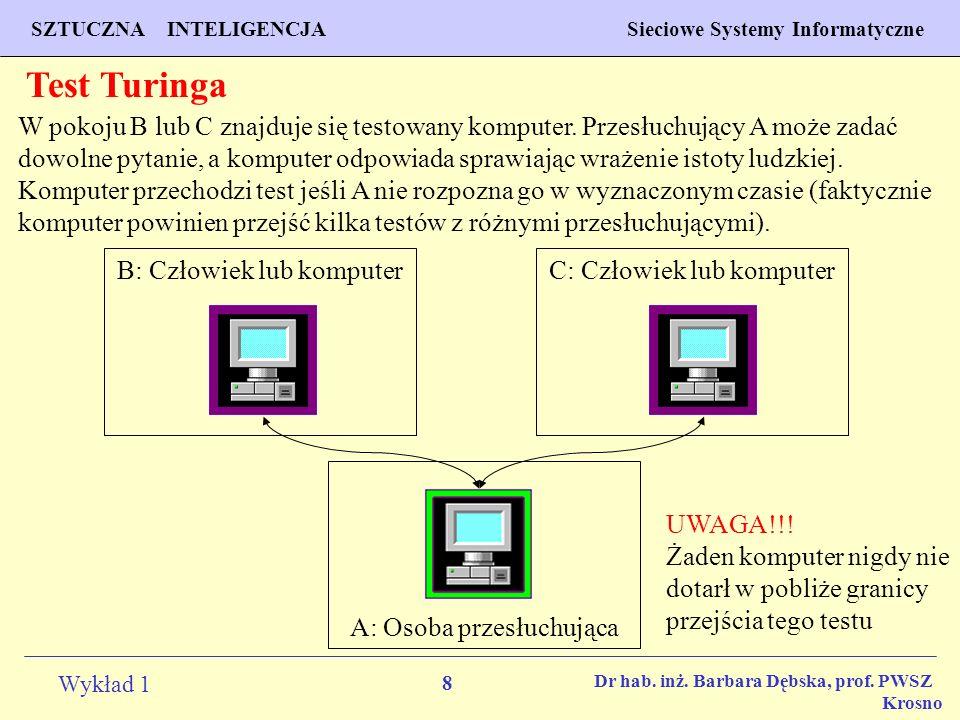 8 Wykład 1 PROGNOZOWANIE WŁAŚCIWOŚCI MATERIAŁÓW Inżynieria Materiałowa SZTUCZNA INTELIGENCJA Sieciowe Systemy Informatyczne Dr hab. inż. Barbara Dębsk
