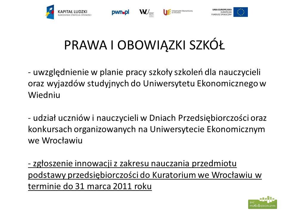 PRAWA I OBOWIĄZKI SZKÓŁ - uwzględnienie w planie pracy szkoły szkoleń dla nauczycieli oraz wyjazdów studyjnych do Uniwersytetu Ekonomicznego w Wiedniu