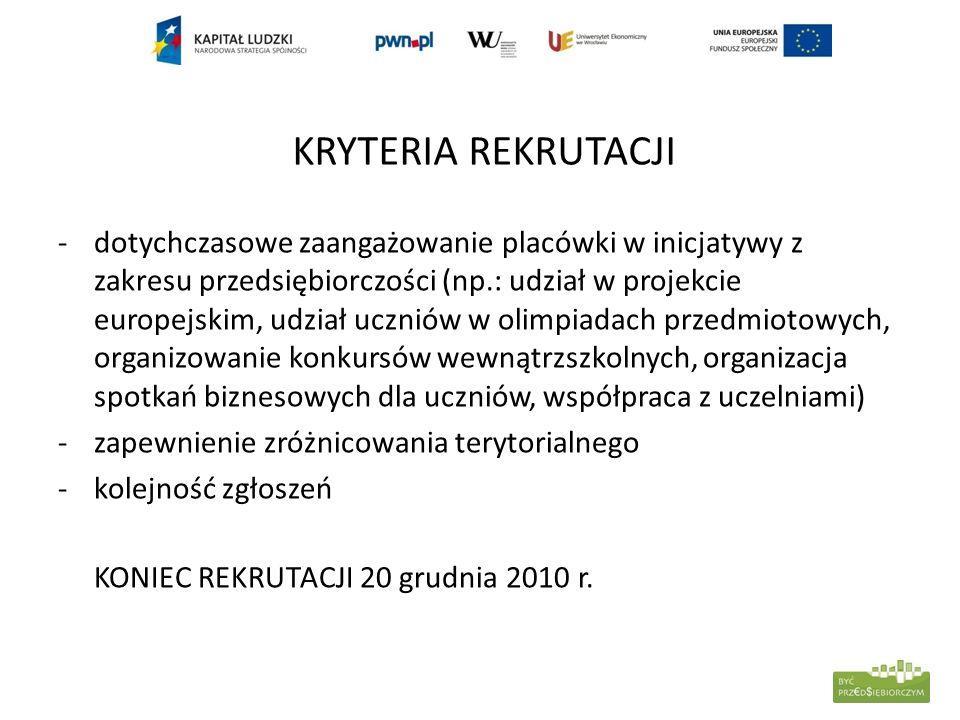 KRYTERIA REKRUTACJI -dotychczasowe zaangażowanie placówki w inicjatywy z zakresu przedsiębiorczości (np.: udział w projekcie europejskim, udział uczni