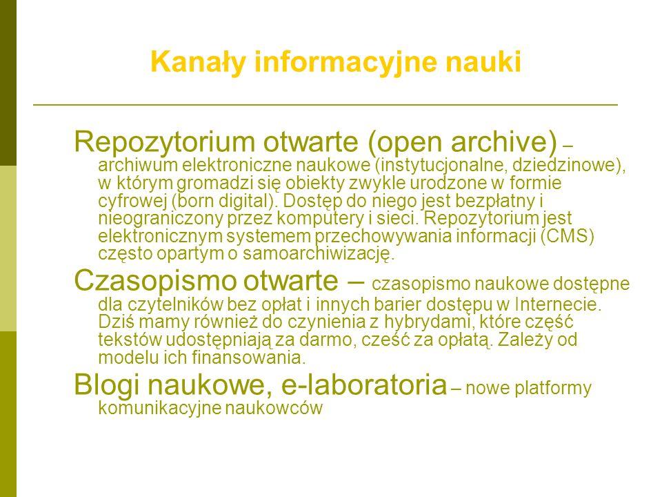 Kanały informacyjne nauki Repozytorium otwarte (open archive) – archiwum elektroniczne naukowe (instytucjonalne, dziedzinowe), w którym gromadzi się o