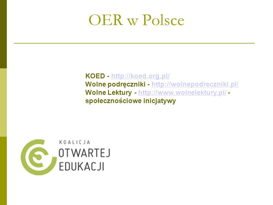 Zasoby otwarte w Polsce Polska zaczęła budować zasoby w 2003 roku, dziś ma: Biblioteki cyfrowe, repozytoria: Federacja polskich Bibliotek Cyfrowych – (59 w 2010; dziś 89) http://fbc.pionier.net.pl/owoc http://fbc.pionier.net.pl/owoc Czasopisma polskie online zaczęły powstawać od początku istnienie Internetu czyli od 1993, pierwsze były Donosy, dziś w Polsce jest ich kilkaset.
