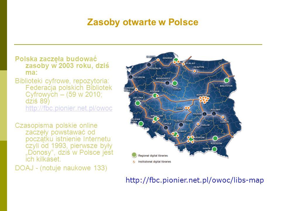 Zasoby otwarte w Polsce Polska zaczęła budować zasoby w 2003 roku, dziś ma: Biblioteki cyfrowe, repozytoria: Federacja polskich Bibliotek Cyfrowych –