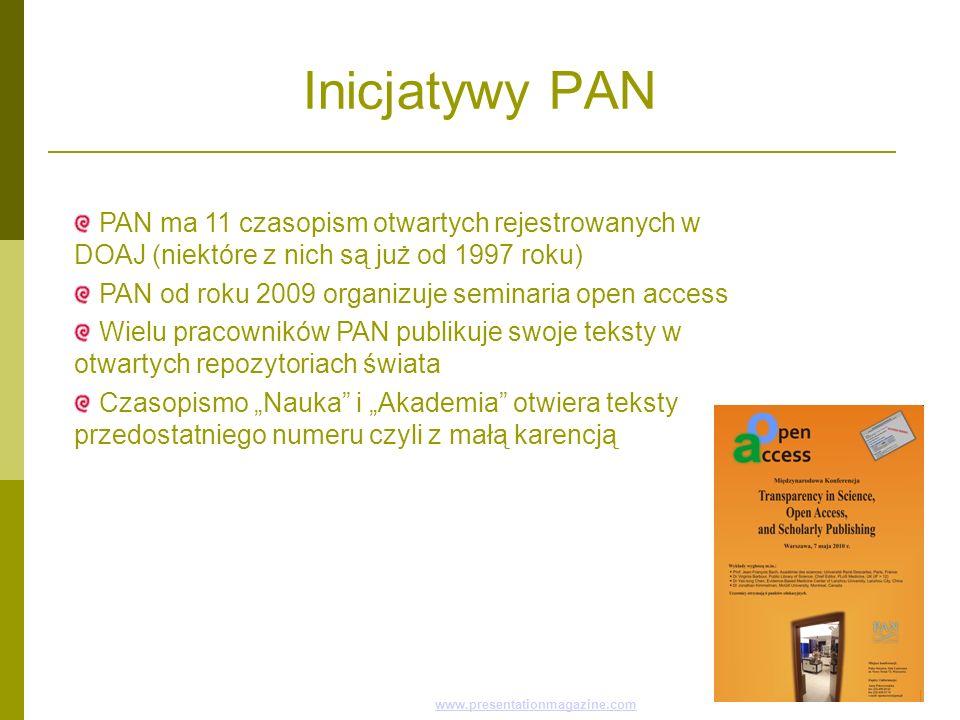 Inicjatywy PAN Ten wzornik pochodzi ze stron Presentation Magazine www.presentationmagazine.com, jest dystrybuowany za darmowww.presentationmagazine.c