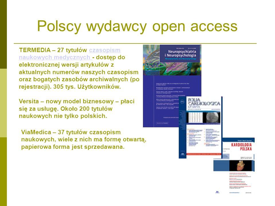 Polscy wydawcy open access TERMEDIA – 27 tytułów czasopism naukowych medycznych - dostęp do elektronicznej wersji artykułów z aktualnych numerów naszy