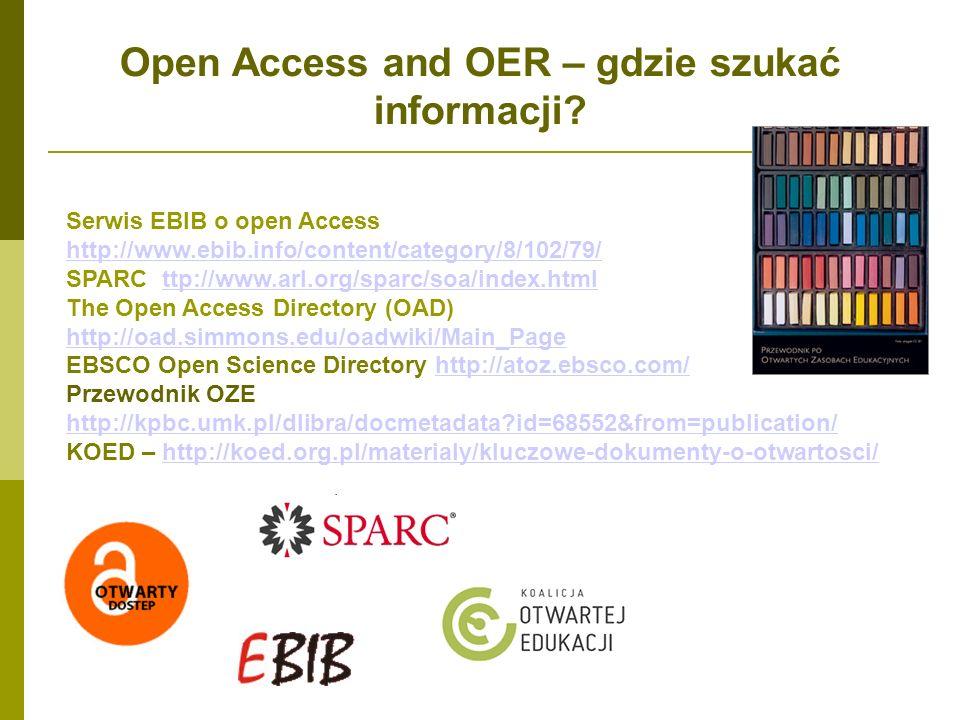 Open Access and OER – gdzie szukać informacji? Serwis EBIB o open Access http://www.ebib.info/content/category/8/102/79/ http://www.ebib.info/content/