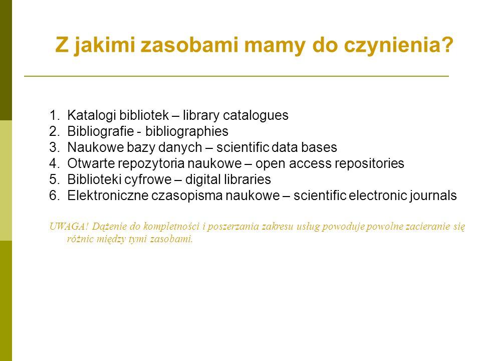 Z jakimi zasobami mamy do czynienia? 1.Katalogi bibliotek – library catalogues 2.Bibliografie - bibliographies 3.Naukowe bazy danych – scientific data