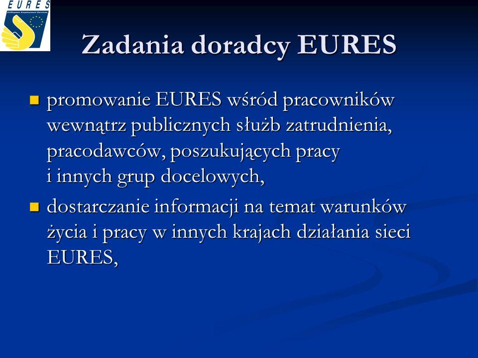 Zadania doradcy EURES promowanie EURES wśród pracowników wewnątrz publicznych służb zatrudnienia, pracodawców, poszukujących pracy i innych grup docel
