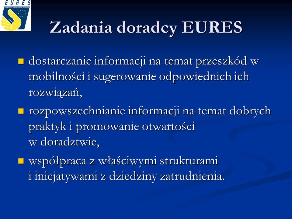 Zadania doradcy EURES dostarczanie informacji na temat przeszkód w mobilności i sugerowanie odpowiednich ich rozwiązań, dostarczanie informacji na tem
