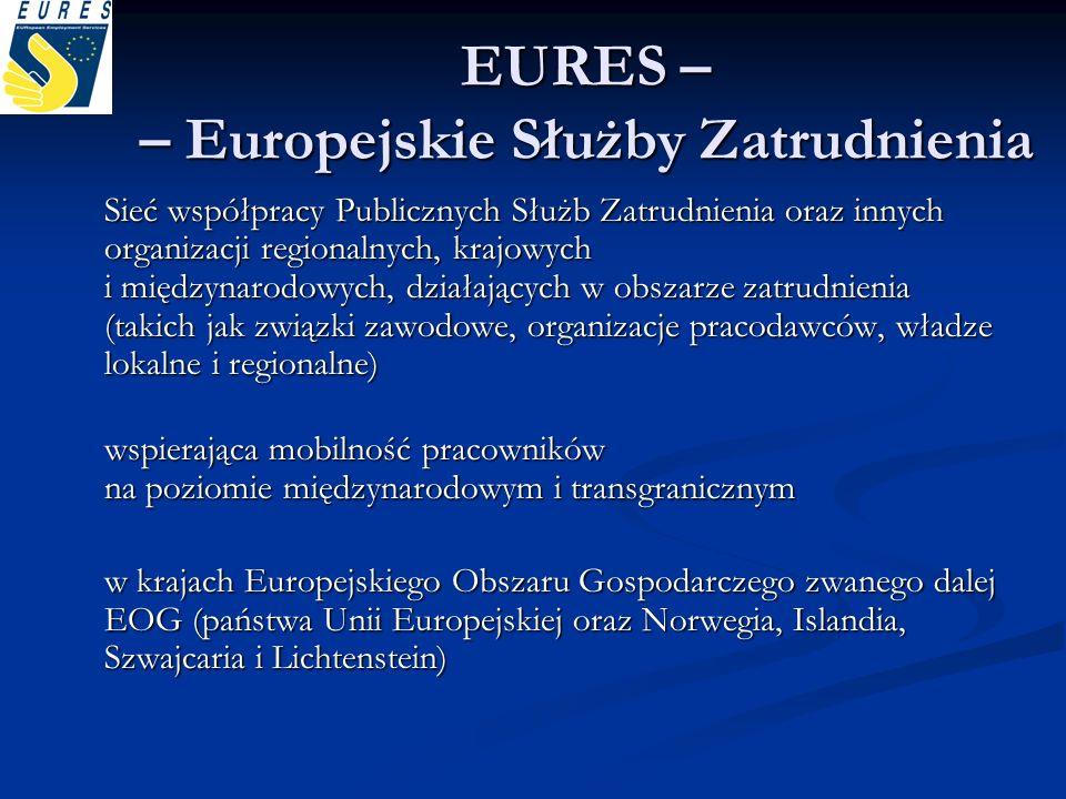 EURES – – Europejskie Służby Zatrudnienia Sieć współpracy Publicznych Służb Zatrudnienia oraz innych organizacji regionalnych, krajowych i międzynarod