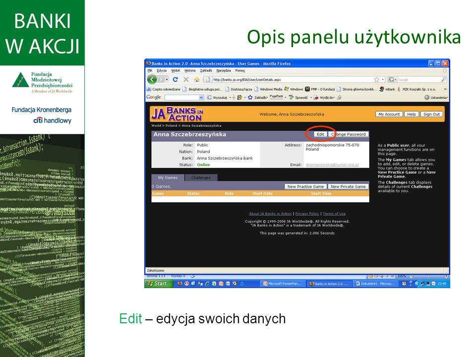 Opis panelu użytkownika Edit – edycja swoich danych