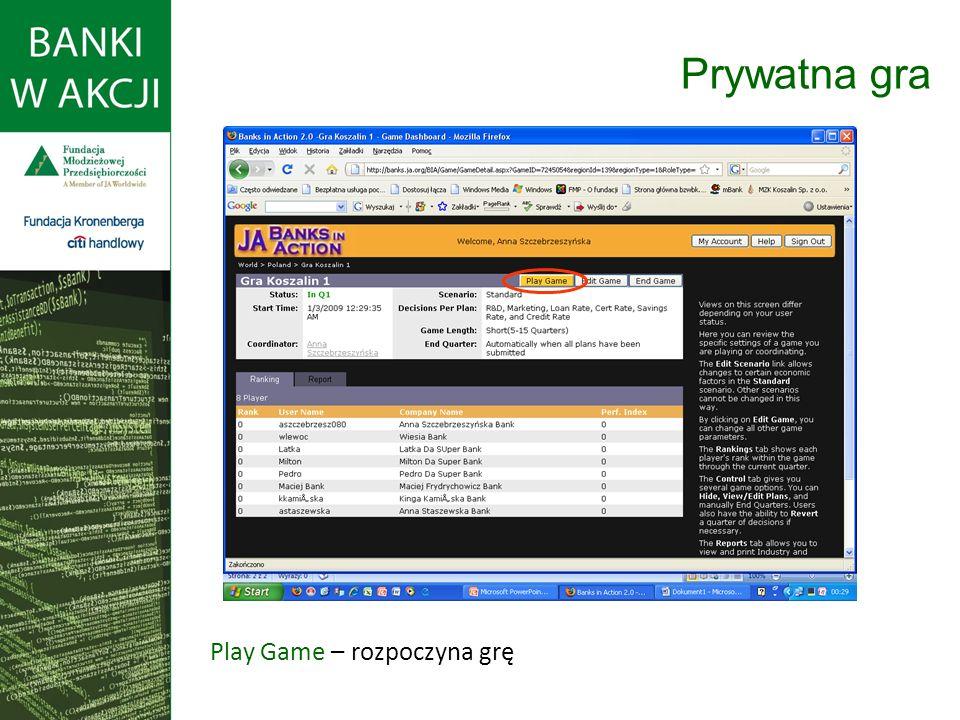 Prywatna gra Play Game – rozpoczyna grę
