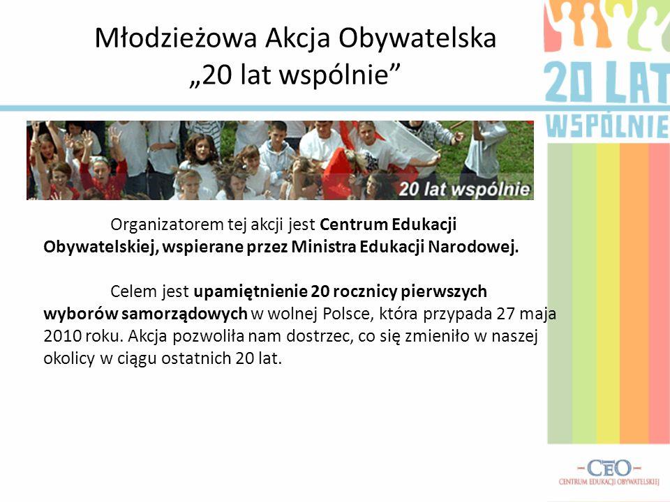 Młodzieżowa Akcja Obywatelska 20 lat wspólnie Organizatorem tej akcji jest Centrum Edukacji Obywatelskiej, wspierane przez Ministra Edukacji Narodowej.