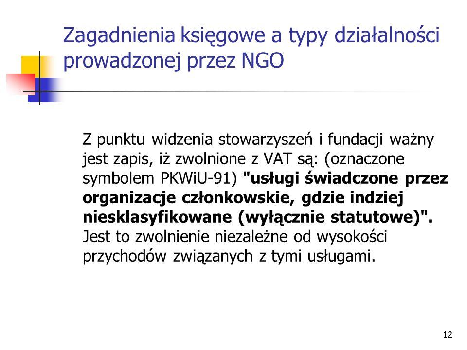 Z punktu widzenia stowarzyszeń i fundacji ważny jest zapis, iż zwolnione z VAT są: (oznaczone symbolem PKWiU-91)
