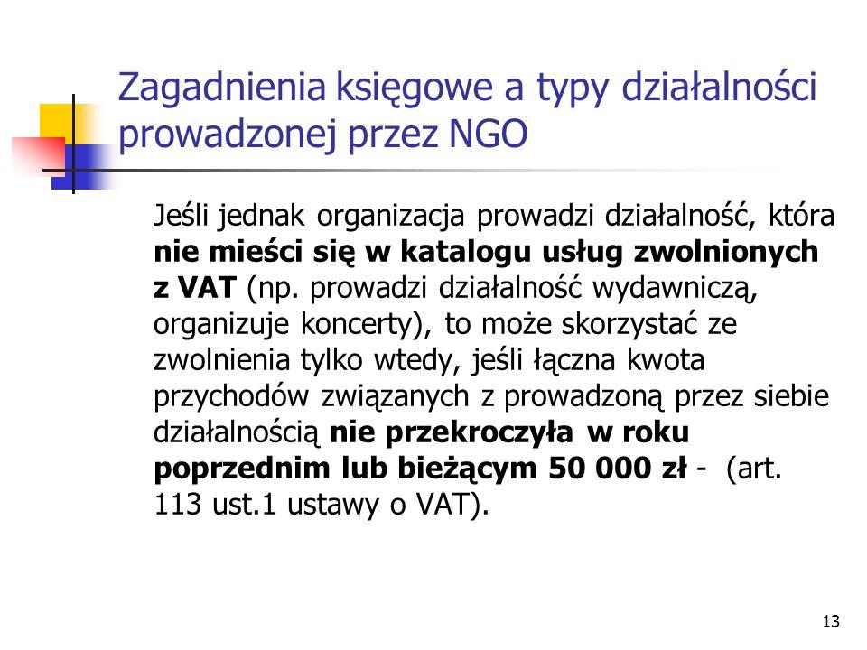 Jeśli jednak organizacja prowadzi działalność, która nie mieści się w katalogu usług zwolnionych z VAT (np. prowadzi działalność wydawniczą, organizuj