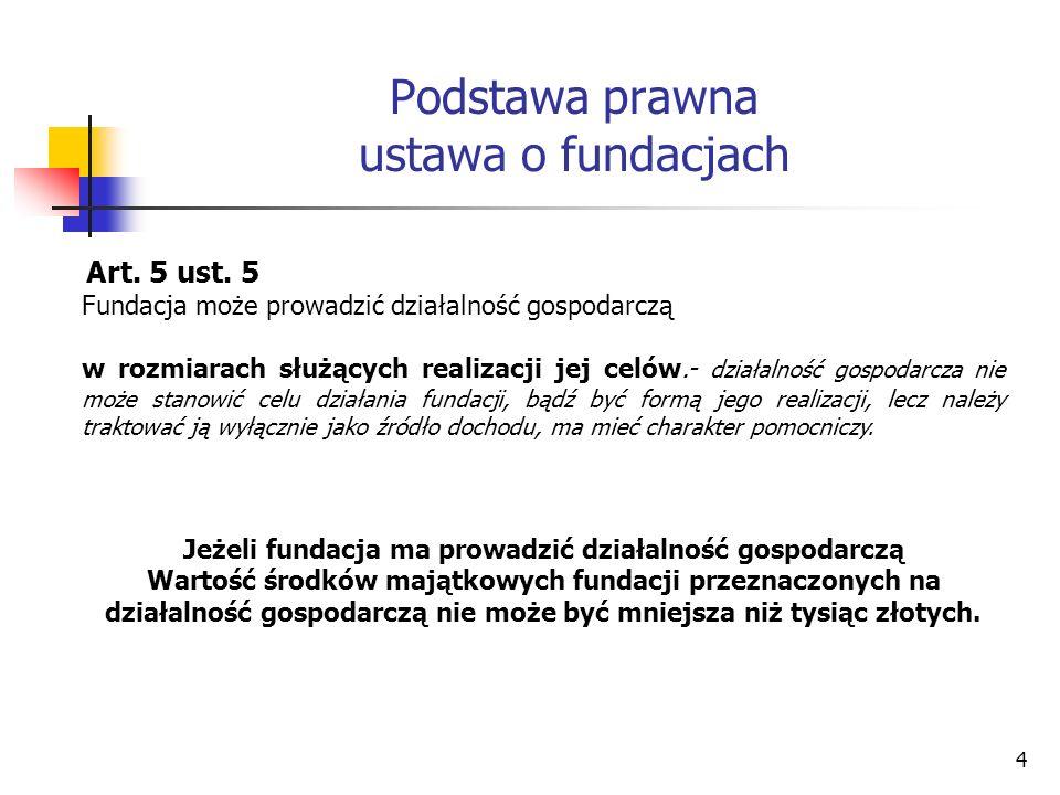 Podstawa prawna ustawa o fundacjach Art. 5 ust. 5 Fundacja może prowadzić działalność gospodarczą w rozmiarach służących realizacji jej celów.- działa
