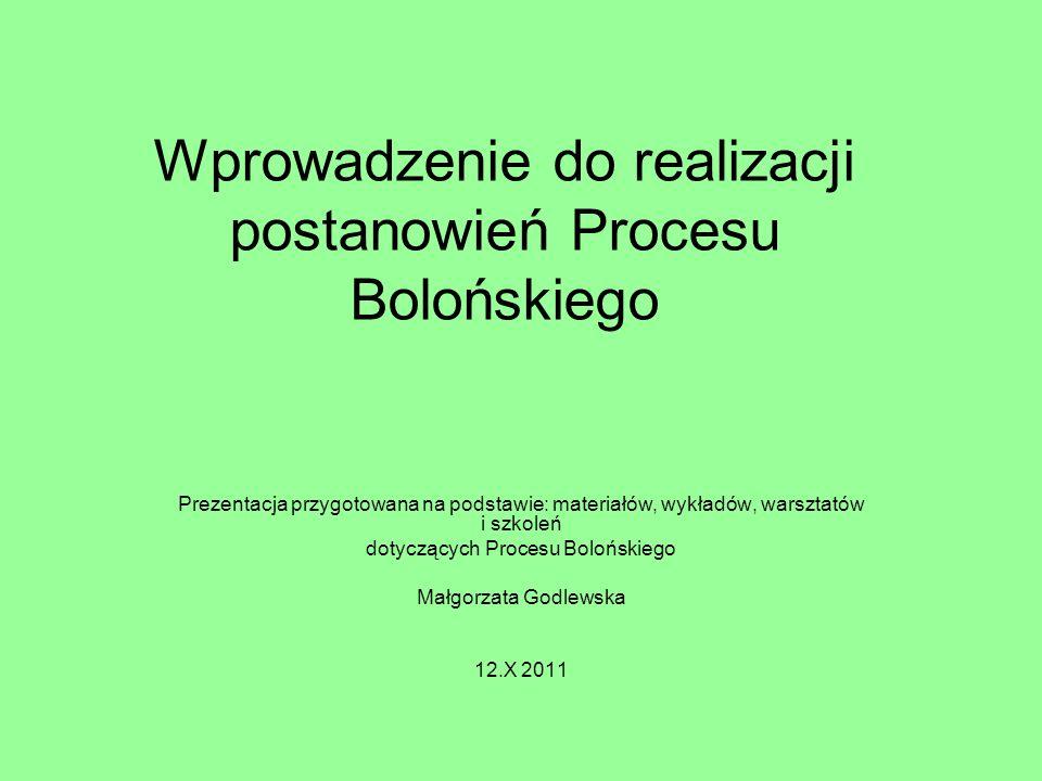 Prace związane z realizacją postanowień Procesu Bolońskiego prowadzone (były) są na wielu poziomach: rządowym i ministerialnym -umowy, -ustawy, środowiskowym lub uczelnianym (Komisja Rektorska ds.