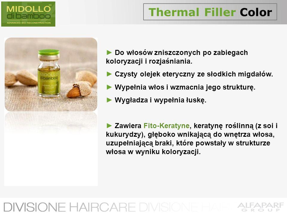 Thermal Filler Color Do włosów zniszczonych po zabiegach koloryzacji i rozjaśniania. Czysty olejek eteryczny ze słodkich migdałów. Wypełnia włos i wzm