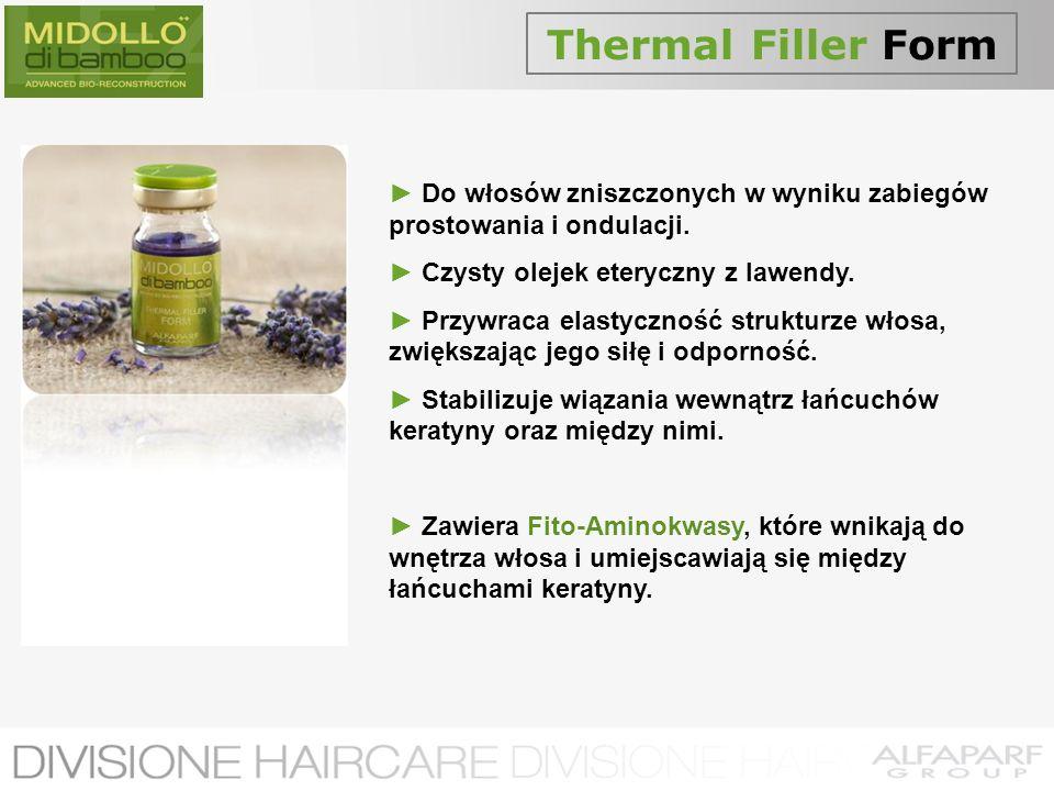 Thermal Filler Form Do włosów zniszczonych w wyniku zabiegów prostowania i ondulacji. Czysty olejek eteryczny z lawendy. Przywraca elastyczność strukt
