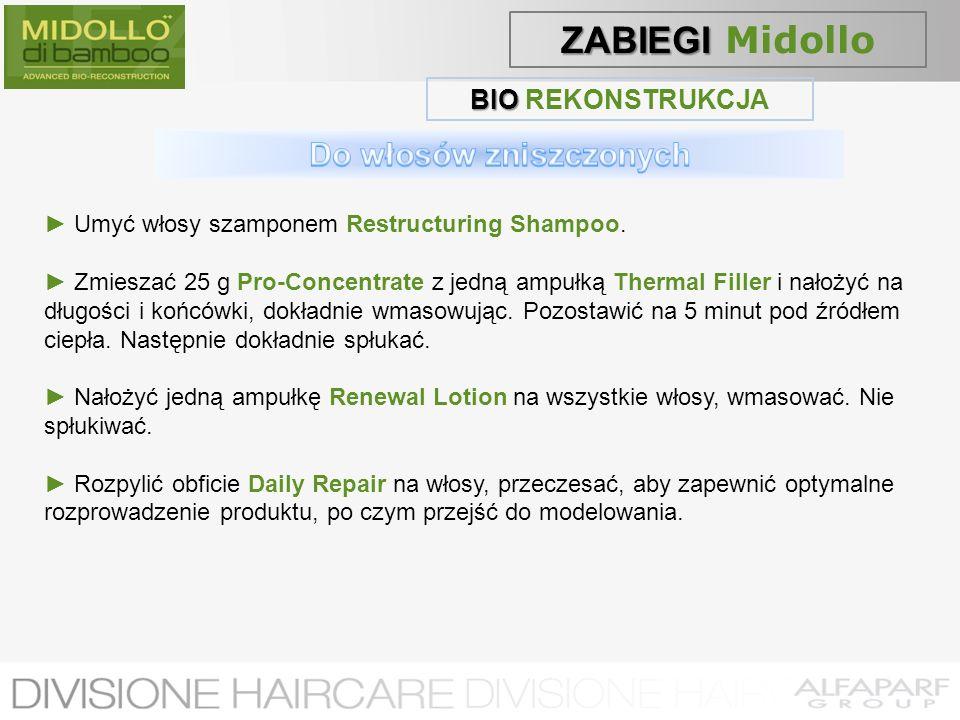 BIO BIO REKONSTRUKCJA Umyć włosy szamponem Restructuring Shampoo. Zmieszać 25 g Pro-Concentrate z jedną ampułką Thermal Filler i nałożyć na długości i