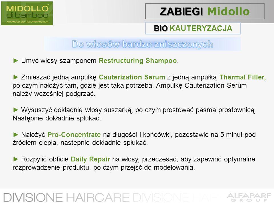 BIO BIO KAUTERYZACJA Umyć włosy szamponem Restructuring Shampoo. Zmieszać jedną ampułkę Cauterization Serum z jedną ampułką Thermal Filler, po czym na