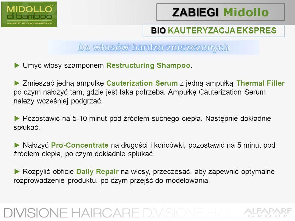 BIO BIO KAUTERYZACJA EKSPRES Umyć włosy szamponem Restructuring Shampoo. Zmieszać jedną ampułkę Cauterization Serum z jedną ampułką Thermal Filler po