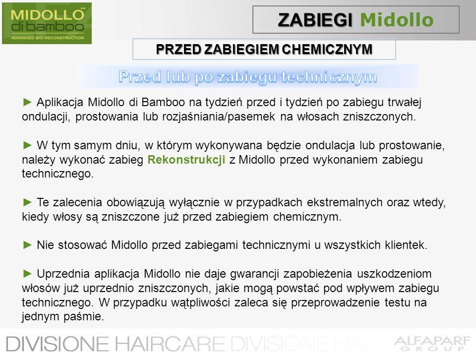 PRZED ZABIEGIEM CHEMICZNYM Aplikacja Midollo di Bamboo na tydzień przed i tydzień po zabiegu trwałej ondulacji, prostowania lub rozjaśniania/pasemek n