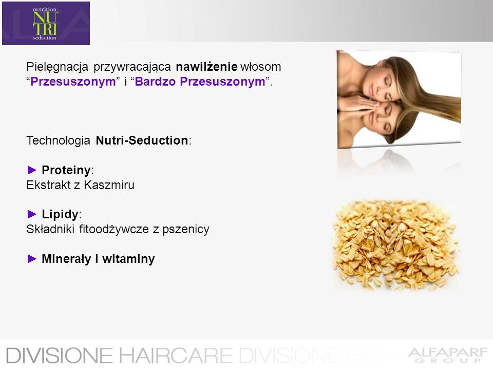 Pielęgnacja przywracająca nawilżenie włosomPrzesuszonym i Bardzo Przesuszonym. Technologia Nutri-Seduction: Proteiny: Ekstrakt z Kaszmiru Lipidy: Skła