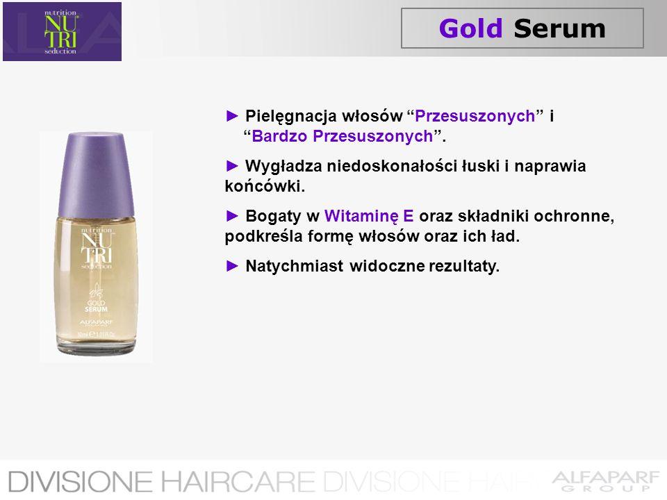 Gold Serum Pielęgnacja włosów Przesuszonych i Bardzo Przesuszonych. Wygładza niedoskonałości łuski i naprawia końcówki. Bogaty w Witaminę E oraz skład