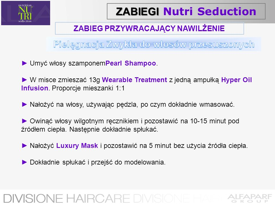 ZABIEG PRZYWRACAJĄCY NAWILŻENIE Umyć włosy szamponemPearl Shampoo. W misce zmieszać 13g Wearable Treatment z jedną ampułką Hyper Oil Infusion. Proporc