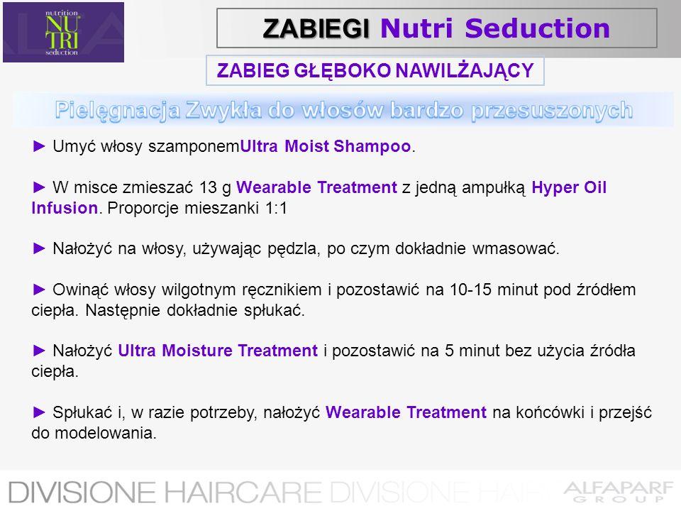 ZABIEG GŁĘBOKO NAWILŻAJĄCY Umyć włosy szamponemUltra Moist Shampoo. W misce zmieszać 13 g Wearable Treatment z jedną ampułką Hyper Oil Infusion. Propo