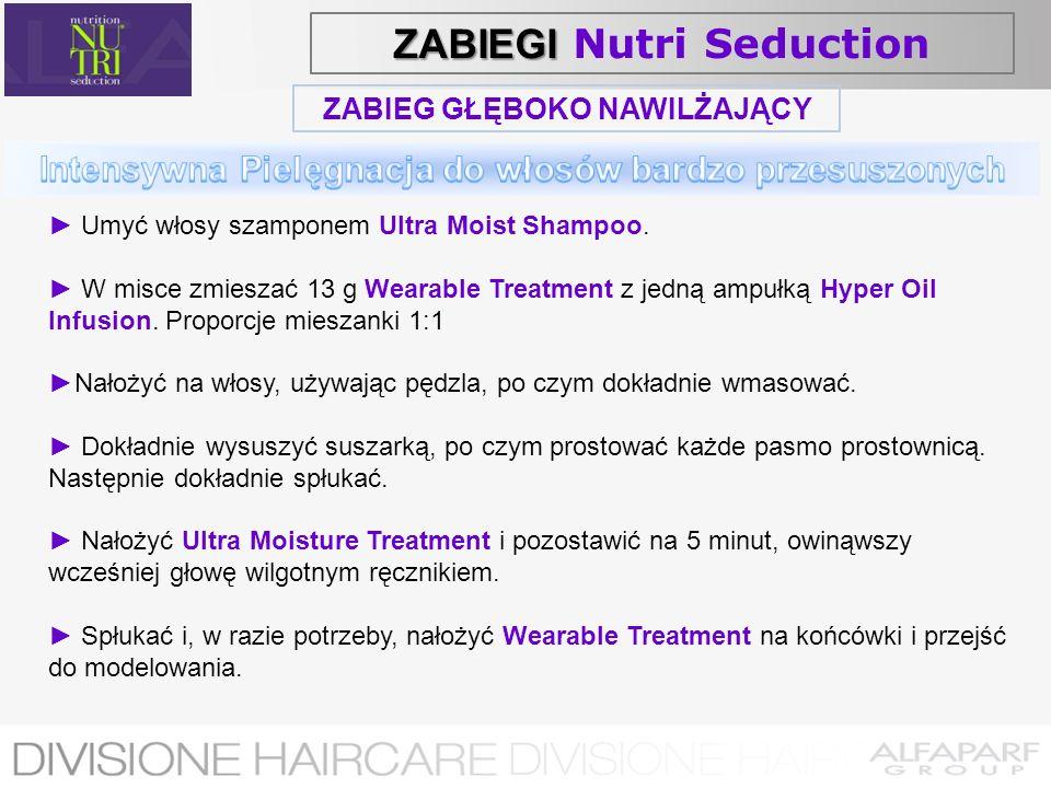 ZABIEG GŁĘBOKO NAWILŻAJĄCY Umyć włosy szamponem Ultra Moist Shampoo. W misce zmieszać 13 g Wearable Treatment z jedną ampułką Hyper Oil Infusion. Prop