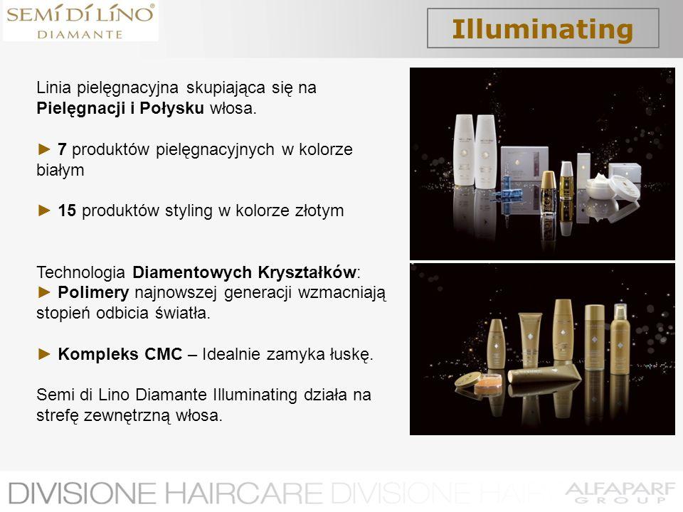Illuminating Linia pielęgnacyjna skupiająca się na Pielęgnacji i Połysku włosa. 7 produktów pielęgnacyjnych w kolorze białym 15 produktów styling w ko