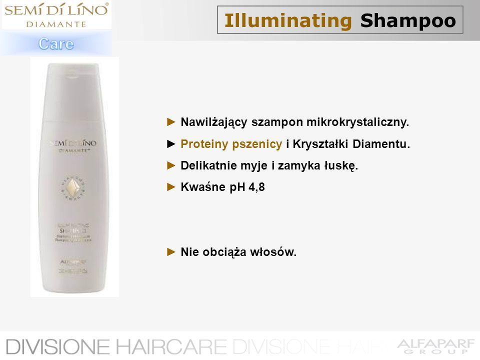 Illuminating Shampoo Nawilżający szampon mikrokrystaliczny. Proteiny pszenicy i Kryształki Diamentu. Delikatnie myje i zamyka łuskę. Kwaśne pH 4,8 Nie