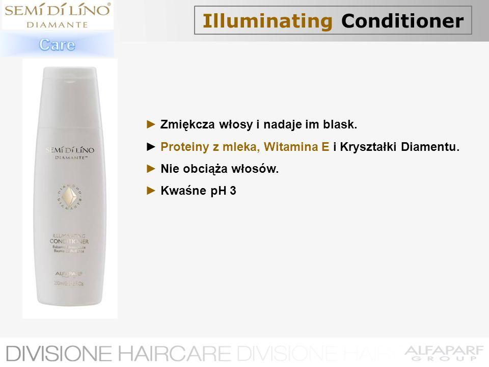 Illuminating Conditioner Zmiękcza włosy i nadaje im blask. Proteiny z mleka, Witamina E i Kryształki Diamentu. Nie obciąża włosów. Kwaśne pH 3
