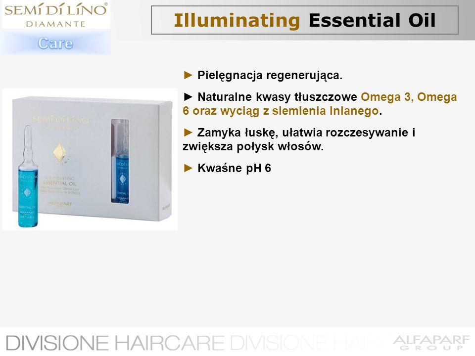 Illuminating Essential Oil Pielęgnacja regenerująca. Naturalne kwasy tłuszczowe Omega 3, Omega 6 oraz wyciąg z siemienia lnianego. Zamyka łuskę, ułatw