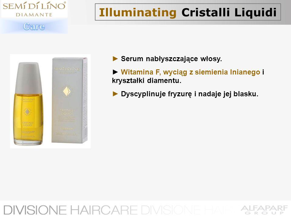 Illuminating Cristalli Liquidi Serum nabłyszczające włosy. Witamina F, wyciąg z siemienia lnianego i kryształki diamentu. Dyscyplinuje fryzurę i nadaj
