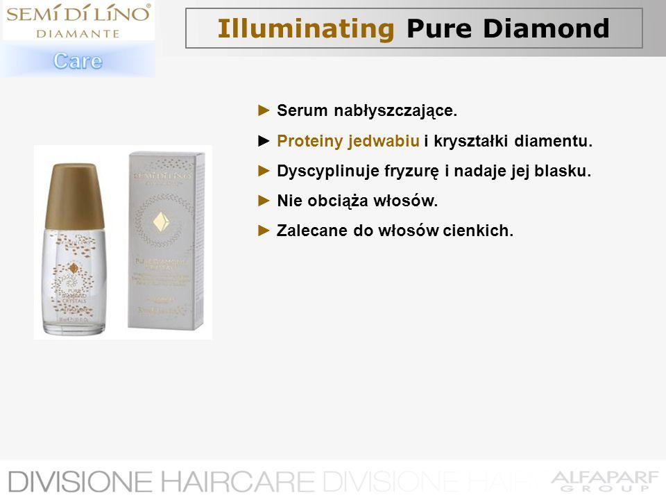 Illuminating Pure Diamond Serum nabłyszczające. Proteiny jedwabiu i kryształki diamentu. Dyscyplinuje fryzurę i nadaje jej blasku. Nie obciąża włosów.