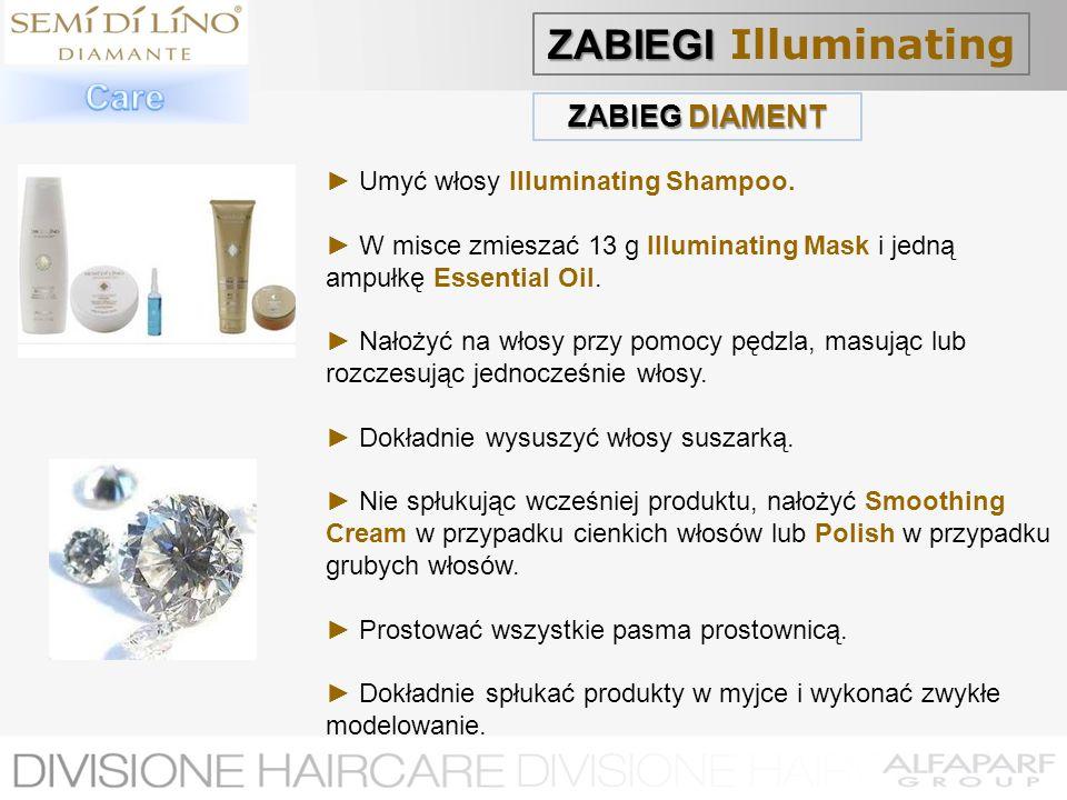 ZABIEG DIAMENT Umyć włosy Illuminating Shampoo. W misce zmieszać 13 g Illuminating Mask i jedną ampułkę Essential Oil. Nałożyć na włosy przy pomocy pę